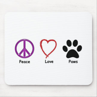 Peace Love Paws Mouse Mat