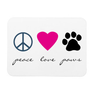 Peace Love Paws Rectangular Photo Magnet