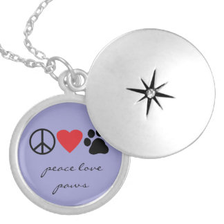 Peace Love Paws Round Locket Necklace