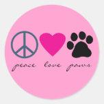 Peace Love Paws Round Sticker