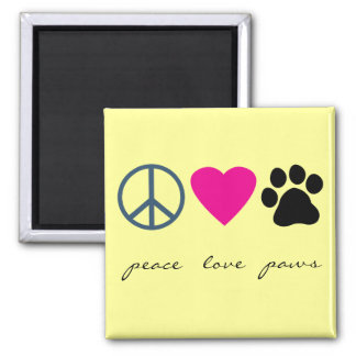 Peace Love Paws Square Magnet