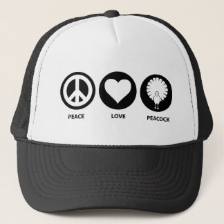 Peace Love Peacock Trucker Hat