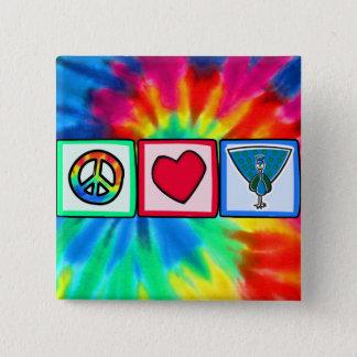 Peace, Love, Peacocks 15 Cm Square Badge