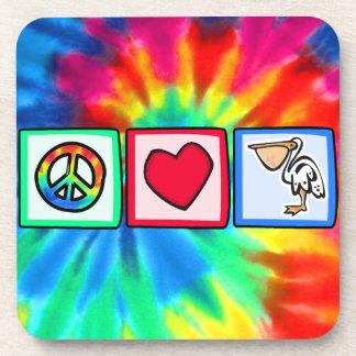 Peace, Love, Pelicans Beverage Coaster