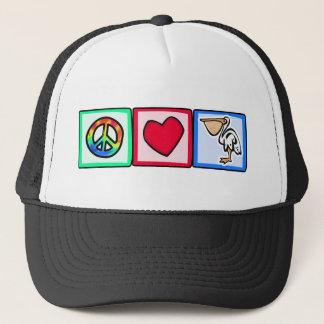 Peace, Love, Pelicans Trucker Hat