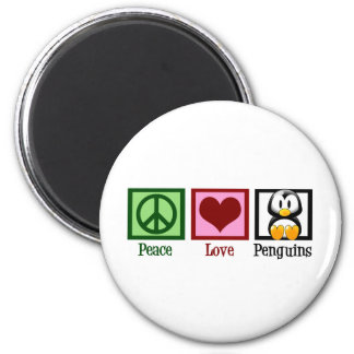Peace Love Penguins 6 Cm Round Magnet