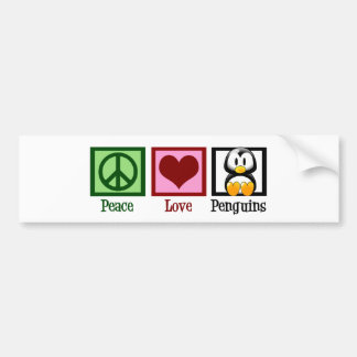 Peace Love Penguins Bumper Sticker