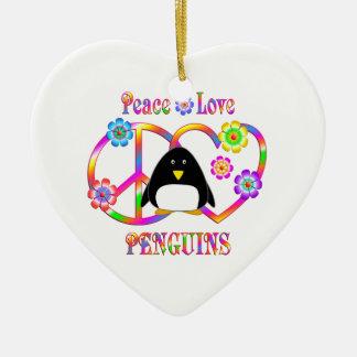 Peace Love Penguins Ceramic Heart Decoration