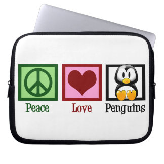 Peace Love Penguins Laptop Sleeve