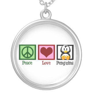 Peace Love Penguins Silver Plated Necklace