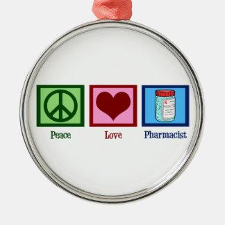 Peace Love Pharmacist Christmas Ornament
