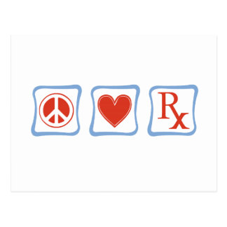 Peace Love Pharmacist Squares Post Card