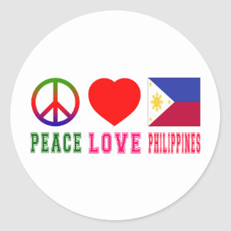 Peace Love Philippines Classic Round Sticker