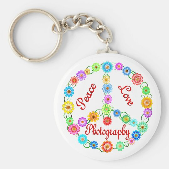 Peace Love Photography Basic Round Button Key Ring