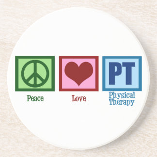 Peace Love Physical Therapist Drink Coaster