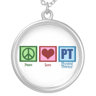 Peace Love Physical Therapist Silver Plated Necklace