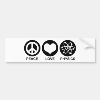 Peace Love Physics Bumper Sticker