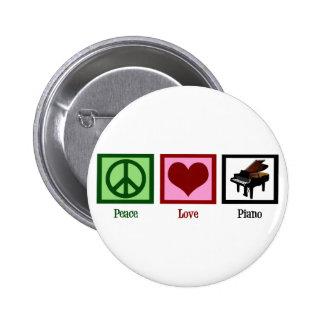 Peace Love Piano 6 Cm Round Badge