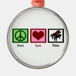 Peace Love Piano Round Metal Christmas Ornament