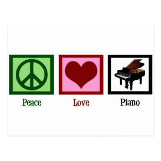 Peace Love Piano Postcard