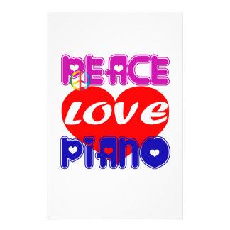 Peace Love Piano Custom Stationery