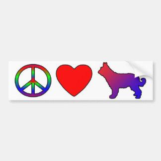 Peace Love Picardy Shepherds Bumper Sticker