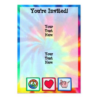 Peace, Love, Pigs 13 Cm X 18 Cm Invitation Card