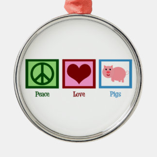 Peace Love Pigs Christmas Ornament