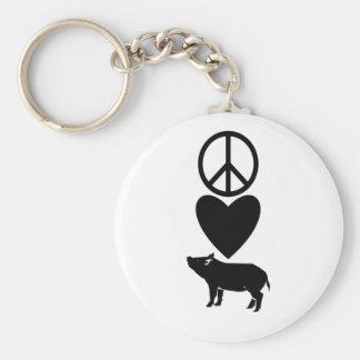 Peace Love & Pigs Keychain