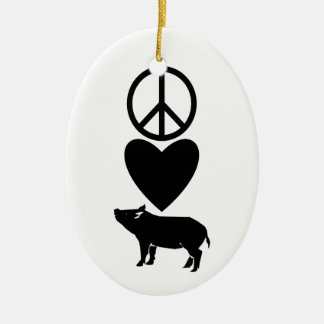 Peace Love & Pigs Ornament