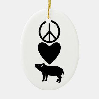 Peace Love & Pigs Ornament