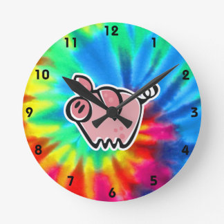 Peace, Love, Pigs Round Clock