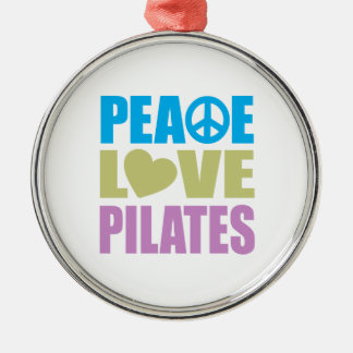 Peace Love Pilates Silver-Colored Round Decoration