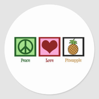 Peace Love Pineapple Classic Round Sticker
