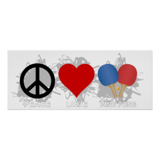 Peace Love Ping Pong Emblem Poster