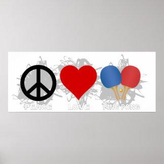 Peace Love Ping Pong Emblem Poster