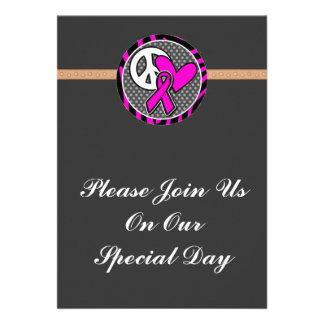peace love pink awareness ribbon custom invitations