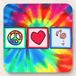 Peace, Love, Pink Flamingos Beverage Coaster