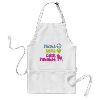 Peace Love Pink Poodles apron, choose style, color Standard Apron