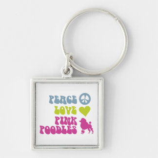 Peace Love Pink Poodles key chain, customize Key Ring