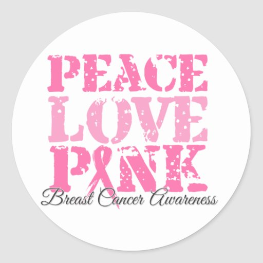 Peace Love Pink Round Stickers