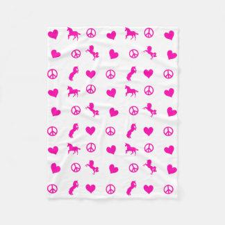 Peace, Love & Pink Unicorns, too! Fleece Blanket