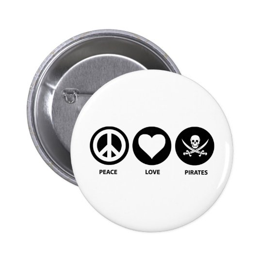 Peace Love Pirates 6 Cm Round Badge