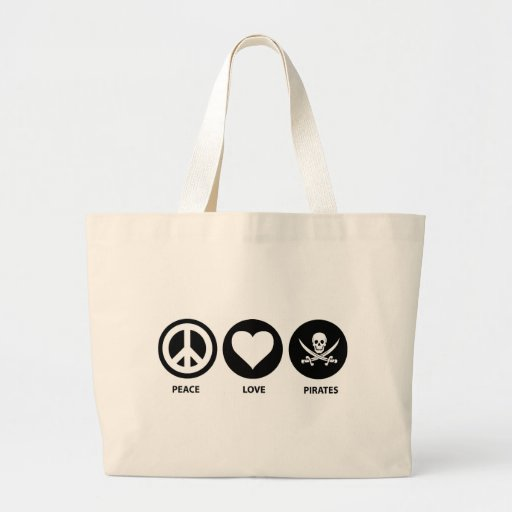 Peace Love Pirates Tote Bag