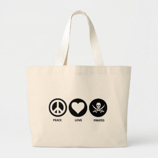 Peace Love Pirates Large Tote Bag