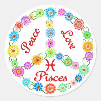 Peace Love Pisces Classic Round Sticker