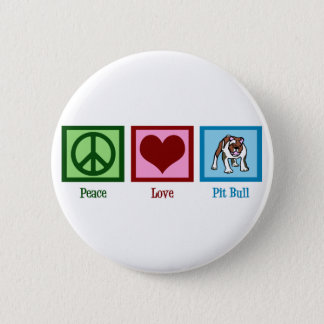 Peace Love Pit Bull 6 Cm Round Badge