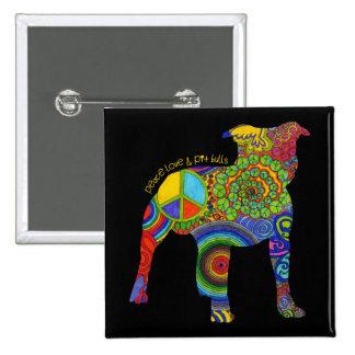 """Peace Love & Pit Bull"" Pop Art Button"