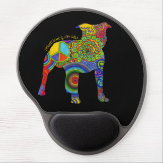 """Peace Love & Pit Bull"" Pop Art Gel Mousepad"