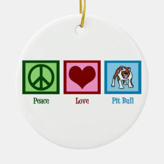 Peace Love Pit Bulls Christmas Ornament